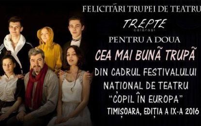 """Trupa TREPTE din Călărași, pe podiumul Festivalului Național de Teatru """"Copil în Europa"""""""