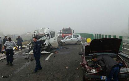 Peste 100 salvatori au intervenit în cazul accidentului rutier produs pe A2, km 67, soldat cu 4 morți și peste 50 de răniți