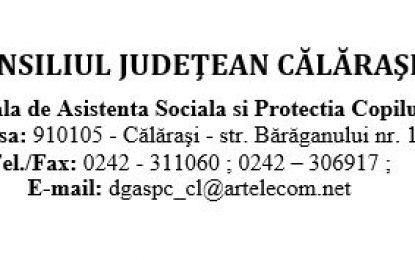 ANUNȚ/D.G.A.S.P.C. Călărași  scoate la concurs un post – Inspector clasa I, grad asistent – Compartimentul Adopții-Postadopții