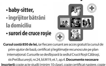 Crucea Roșie organizează, la Călărași, cursuri pentru îngrijitor bătrâni, baby-sitter şi surori de cruce roșie