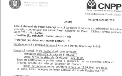 Angajări la Casa de Pensii Călărași/13 posturi scoase la concurs