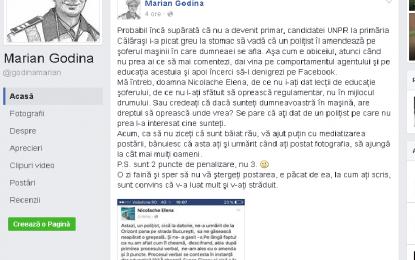 Elena Nicolache via Marian GODINĂ/Cum a ajuns fosta candidată la fotoliul de primar pe pagina polițistului