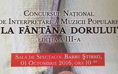 """Călărași/Concurs Național de Interpretare a Muzicii Populare """"La Fântâna Dorului"""", ediția a III-a, organizat de Palatul Copiilor"""